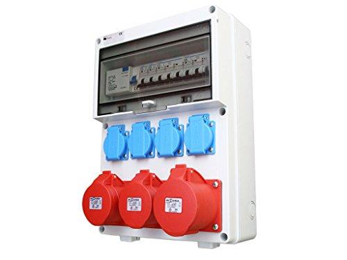 Baustromverteiler Wandverteiler Stromverteiler Verteiler Stromkasten FI 2x 16A + 1x 32A + 4x 230V AWVT1-3V2