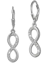 SilberDream Ohrringe Ohrhänger Unendlich Zirkonia weiß aus 925er Sterling Silber Damen Ohrring SDO357M