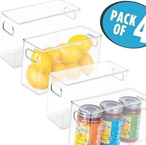 mDesign Juego de 4 cajas de almacenaje medianas – Cajas organizadoras para...