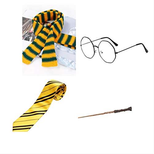 thematys Set mágico de 4 Piezas - Bufanda, Corbata, Gafas y Varita mágica - Accesorios para Adultos y niños Carnaval, Carnaval y Cosplay