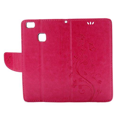 Huawei P9 Lite Cover Protettiva, Alfort 2 in 1 Custodia in Pelle Verniciata Goffrata Farfalle e Fiori Alta qualità Cuoio Flip Stand Case per la Custodia Huawei P9 Lite Ci sono Funzioni di Supporto e P Rosso