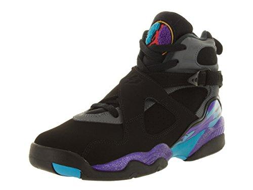 Nike Air Jordan 8 Retro Bg, Chaussures de Sport Garçon Noir / Bleu / Gris (Blck / Tr Rd-Flnt Gry-Brght Cncr)