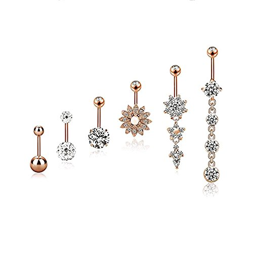 JuanYa 6 Pieces 14G Stainless Steel Belly Button Rings Navel Curved Barbell Body Piercing Jewelry (Rose Gold)