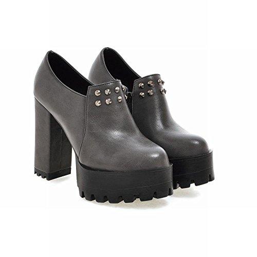 Mee Shoes Damen Nieten Plateau chunky heels Reißverschluss Ankle Boots Grau