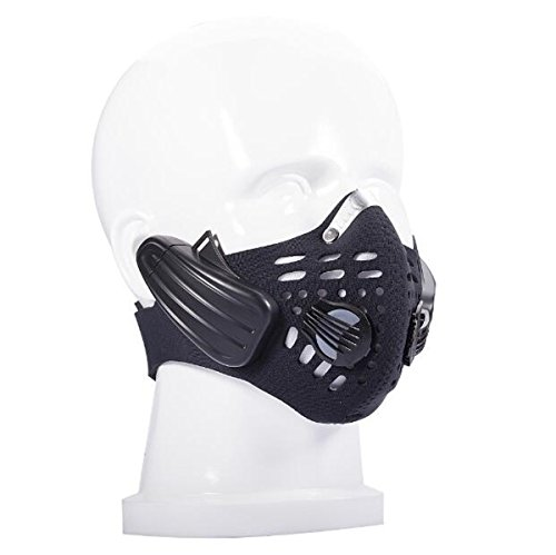 Hzhy Bone Conduction Bluetooth Outdoor Riding Anti Fog Mask Bone Conduction Bluetooth Headset Mask Support Call Music  Color   Black