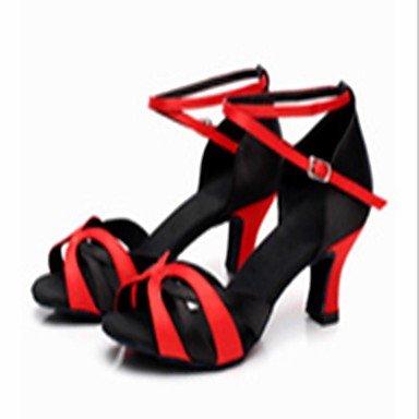 XIAMUO nicht anpassbar - die Frauen tanzen Schuhe Satin Satin Latin Heels Cuban Heel Praxis/innen Andere Schwarz und Rot