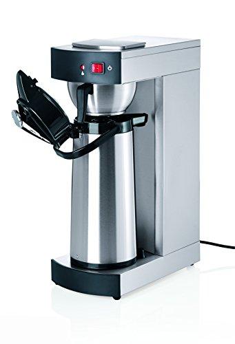 Machine à café en acier chromé NICKEL – avec 1 théière de pompe thermique à 2,2 Ltr., avec extra Plaque de maintien au chaud, capacité jusqu'à env. 100 tasses par heure, Filtre papier 90/250 mm/Capacité : 2,2 L, Dim. : 36 x 19,5 x 52,5 cm, poids : 9 kg, puissance : 230 V/1900 W/50 ~ 60 hz