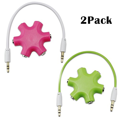 Aussel 2 Satz 3.5mm Kopfhörer Kopfhörer Verlängerungs Audio Splitter Adapter 1 Stecker auf 2 3 4 5 Female Audio Kabel (Pink+Green) (Audio-kabel-splitter Weiblich)