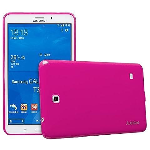 Juppa® Samsung Galaxy Tab 4 8,0 Zoll SM-T330 SM-T331 TPU Gel Silikon Tasche Hülle Schutzhülle mit HD LCD Displayschutz Schutzfolie Folie (Rosa / Pink)
