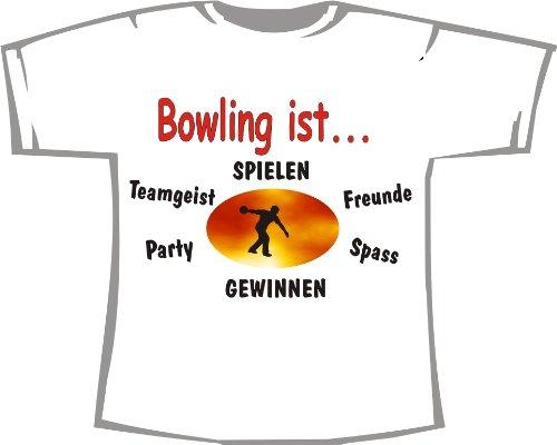Bowling ist: Spielen, gewinnen, Teamgeist, Freunde, Spaß, Party; Kinder T-Shirt weiß, Gr. 3-4
