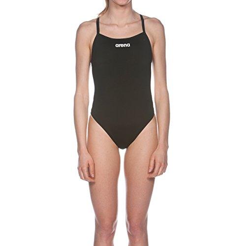 arena Damen Trainings Profi Badeanzug Solid Lighttech High (Schnelltrocknend, UV-Schutz, Chlorresistent), schwarz (Black-White), 38