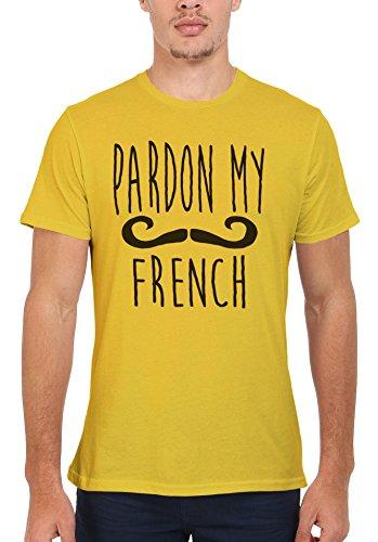Pardon My French Moustache Cool Funny Men Women Damen Herren Unisex Top T Shirt Licht Gelb