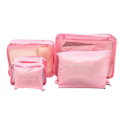 VORCOOL 6pcs Reise-Beutel Wasserdicht Kleidung Verpackung Cube Organizer Gepäck Tasche (Reisen Cubes Gepäck)