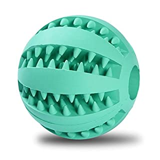 Allbusky Pet Dog Toy Ball Nature Rubber Bouncy Toy Ball Dog Food Treat Feeder Tooth Cleaning Ball Bite Resistant Pet Exercise Game Ball for Pet Dogs Training Playing Chewing (Blue 5cm)