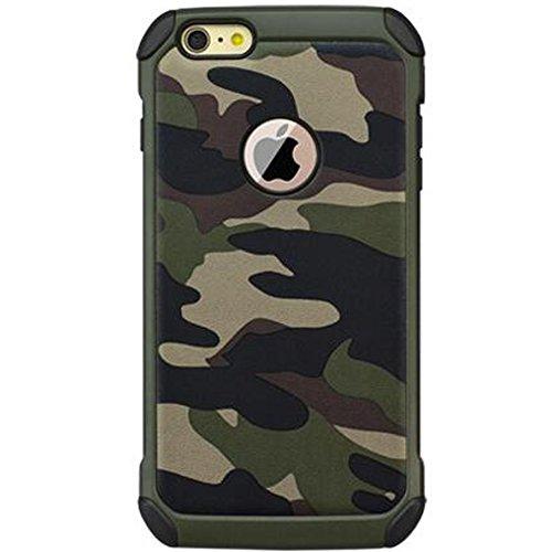 HUKTOR 3-IN-1 Tarnung Hüll kompatibel mit iPhone 8 Mehrfachschutz Schutzhülle + Transparent 9H Gehärtetem Glas + Ringhalter Stoßfest 360-Grad Handyhülle mit 4 Airbags für 8,4.7 Zoll,Grün