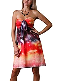 Damen Angela Bandeau Knie Lang Sommer, Urlaubs Kleid, Orange Galaxis