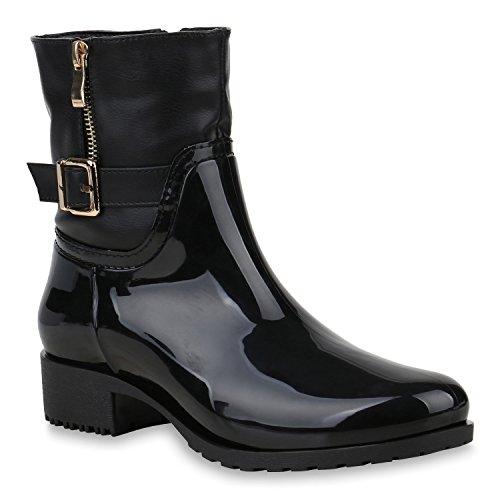 n Stiefeletten Gummistiefel Leicht Gefütterte Stiefel Schuhe 153338 Schwarz Amares 39 Flandell (Schwarze Kurze Stiefel)