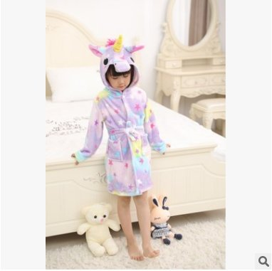 Ecommercer Trade Girls Star Unicorn Bathrobe Dressing Gown 3D Horn Magical Purple Pink Yellow PJ's Pyjamas