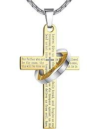 f08bc26fe2ff Aoiy - Collier avec pendentif hommes - Acier Inoxydable - La prière du  Seigneur en anglais Écriture - Croix et Halo…