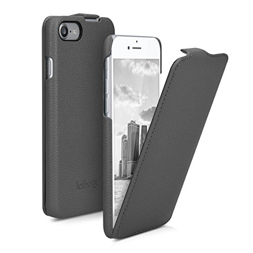 kalibri-Flip-Hlle-Ultra-Slim-Tasche-fr-Apple-iPhone-7-Leder-Schutzhlle-Case-in-Grau