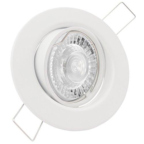 25er Set (10-25er Sets) Einbaustrahler DECORA; 230V GU10; SMD LED 7,5W = 70W; DIMMBAR; Warm-Weiß; WEISS; schwenkbar, Leuchtmittel austauschbar; Einbauleuchte Einbauspot Downlight -