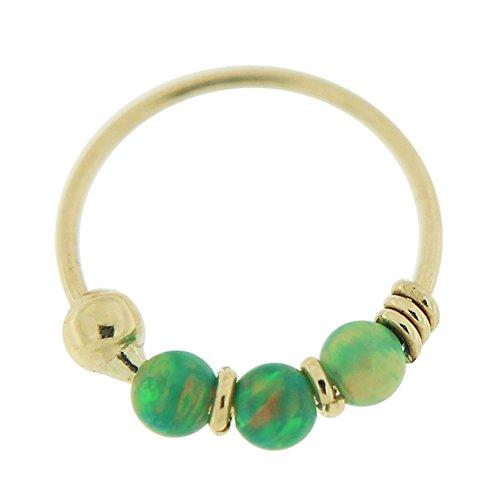 9K Gelb Gold drei grüne Opal Perlen 22 Gauge Hoop Nasenring Nase Piercing (Gold Gelb Ring)