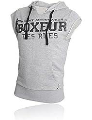 Boxeur Des Rues Fight Activewear Felpa Maniche Corte con Cappuccio e Stampa Uomo, Grigio (Grey Mel), M