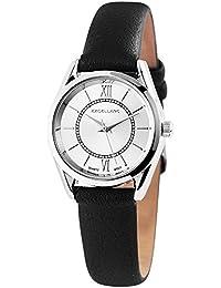 Trend de Wares de mujer reloj de pulsera plata negro analógico de cuarzo metal piel clásico romano zifferrn Mujer Reloj