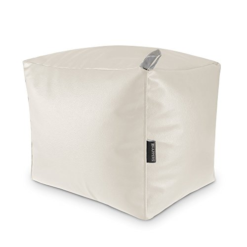 HAPPERS Puff Cuadrado Polipiel Outdoor Blanco