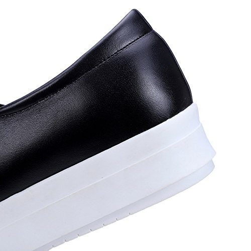 AllhqFashion Femme Pu Cuir Couleur Unie Tire Rond à Talon Bas Chaussures Légeres Noir