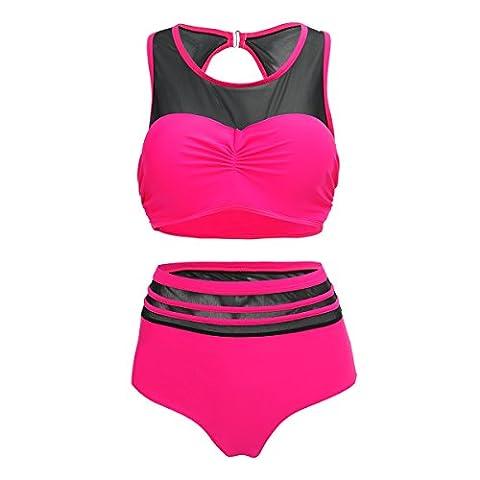 Shangrui Damen Bademode Series Hohe Taille Konservative Plus Größe Tankini Badeanzug,ein Satz von 2-stück(Rosig,48)