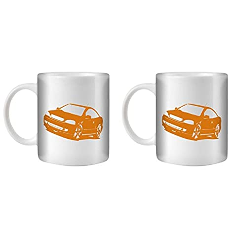 STUFF4 Tea/Coffee Mug/Cup 350ml/2 Pack Orange/Astra G/White