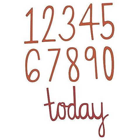 Sizzix 661163 Thinlits Die Set Matrice Chiffre d'Anniversaire par Emily Atherton Acier Carbone Multicolore 23,5 x 7 x 0,5 cm 11 Pièces