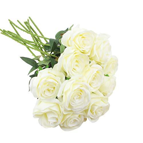 cherrboll Künstliche Rose Blumen Seide floral Fake Rose bouqets arrangment für Home Party Hochzeit Garten Decor, 10 weiß