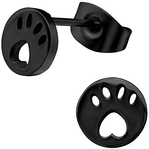 EYS JEWELRY Damen Tier-Pfoten Ohrstecker Chirurgenstahl schwarz 7 mm Tatzen Ohrringe Edelstahl Tier-ohrringe