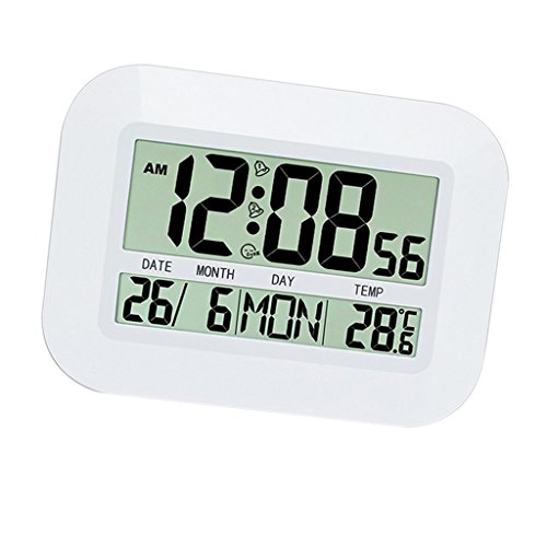 IPOTCH Reloj Despertador de Grande Pantalla LCD de Material de Plástico ABS Función de Calendario y Termómetro para Habitación/Cocina/Comedor