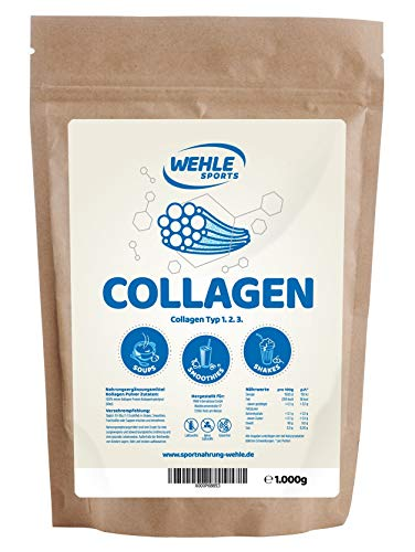 Polvere di collagene / Collagene idrolizzato - Proteine in polvere per l'assunzione giornaliera in frappè, frullati, salse, bevande by Wehle Sport - Made in Germany utile per il tessuto connettivo collagene di tipo 1 2 - (1000g)