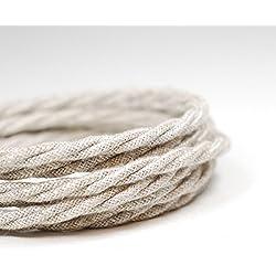 Premium italiano vintage tejido Flex iluminación Cable 3Core | trenzado de arpillera Beige