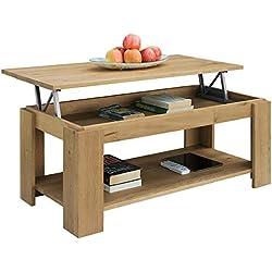 Comifort Table basse relevable en chêne massif avec porte-revues intégré 100x 50x 43/55cm