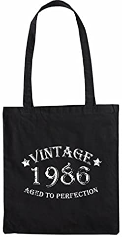 Mister Merchandise Sac de courses à main Vintage 1986 - Aged to Perfection 29 30 Shopper Shopping , Couleur: Noir