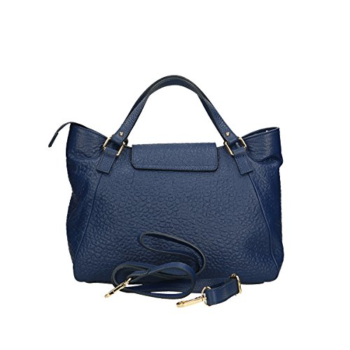 Chicca Borse Borsa a mano in pelle 32x23x15 100% Genuine Leather Blue