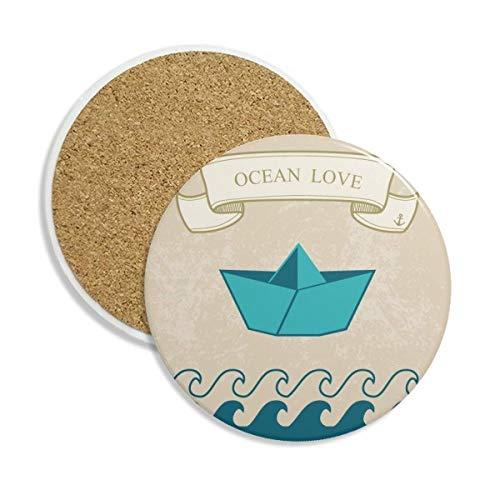 DIYthinker Papier Falten Boot Ozean-Liebe Meer Segeln Keramikuntersetzer Schalen-Becher-Halter Absorbent Stein für Getränke 2Pcs Geschenk Mehrfarbig