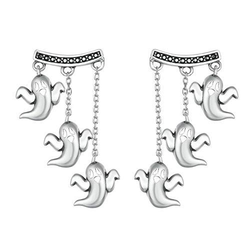 1 Paar Geist Ohrringe Ohrstecker Für Damen 925 Silver Halloween Accessoire Kostüm Schmuck