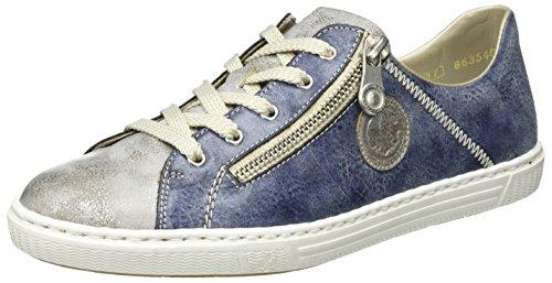 Rieker L0943, Scarpe da Ginnastica Basse Donna Blu (Grey/jeans / 41)