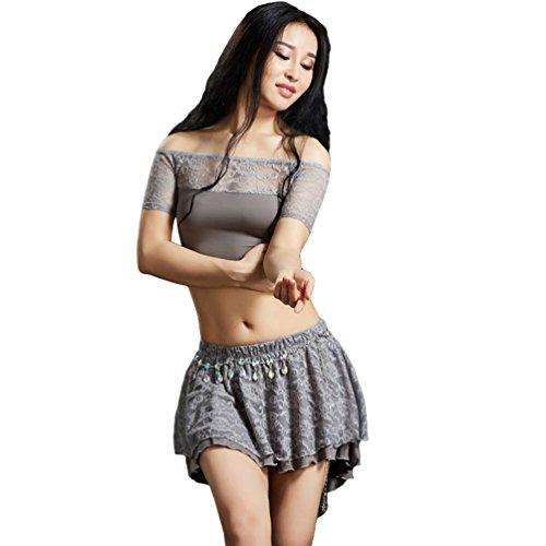 YiiJee Damen Tanzkleidung Belly Dance Kostüme Bauchtanz Kleidung Set Tanz Tops Shirts und Rock Dark Grau