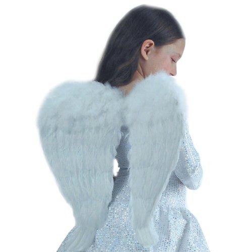 Carnival Toys Ali da angelo in piuma bianca h.cm.45x46 ca. Si indossano con due comode bretelle. Per angelo senza colpe ed una festa angelica.