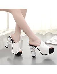 Zapatos de mujer elegante, elegante y versátil áspero y cool zapatillas mujer boca de pescado super chica ,9-20 blanca,34