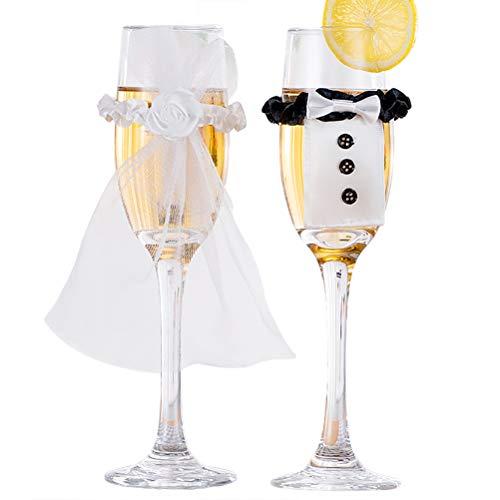 Kylewo 1 Paar Sektgläser Hochzeit für Brautpaar Sektglas-Deko Sektgläser mit Ringe Herz Gravur Aufklebern Geschenk zur Hochzeit Valentinstag