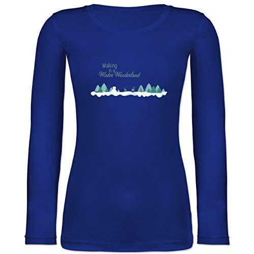 Weihnachten & Silvester - Walking in a Winter Wonderland Schnee - XS - Blau - BCTW071 - Langarmshirt Damen