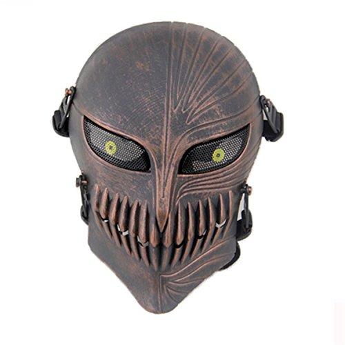 haoyk Tactical Totenkopf Full Face Schutz Masken für Airsoft Paintball Outdoor CS Krieg Spiel BB Gun Cool Scary Ghost Halloween Party Maske, kupfer (Paintball Guns Gold)